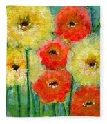 Bright Colored Flowers Shine Fleece Blanket