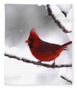 Bright In The Snow - Cardinal Fleece Blanket