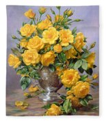 Bright Smile - Roses In A Silver Vase Fleece Blanket