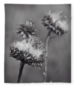 Bristle Thistle In Black And White Fleece Blanket