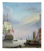 British Man-o'-war Off The Coast Fleece Blanket