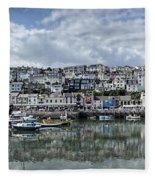 Brixham Harbour - Panorama Fleece Blanket