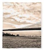 Brooklyn Bridge In Sepia Fleece Blanket