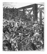 Brooklyn Bridge Panic 1883 Fleece Blanket