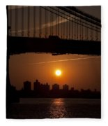 Brooklyn Bridge Sunrise Fleece Blanket