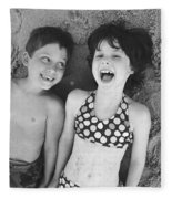 Brother And Sister On Beach Fleece Blanket