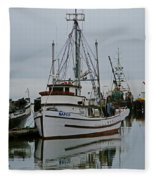 Brown And White Fish Boat Fleece Blanket