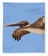 Brown Pelican In High Flight Fleece Blanket