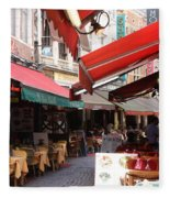 Brussels Restaurant Street - Rue De Bouchers Fleece Blanket