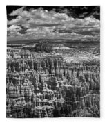 Bryce Canyon - Black And White Fleece Blanket