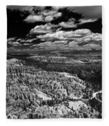 Bryce Canyon Ampitheater - Black And White Fleece Blanket