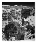 Bryce Canyon Arch - Black And White Fleece Blanket