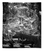 Bubble Blower Of Central Aprk In Black And White Fleece Blanket