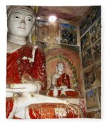 Buddha Image In Po Win Taung Caves. Fleece Blanket