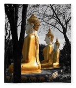 Buddha In The Jungle Fleece Blanket