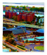 Buffalo New York Aerial View Neon Effect Fleece Blanket