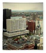 Buffalo New York Aerial View Fleece Blanket