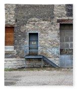 Building No.3 Garage Door Fleece Blanket