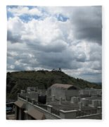 Buildings Cover The Lower Section Of A Hill That Has A Temple At The Top With Clouds Covering The Sk Fleece Blanket