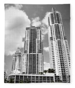 Buildings Downtown Miami Fleece Blanket