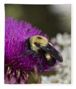 Bumble Bee And Bristle Thistle Fleece Blanket