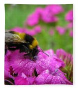 Bumble Bee Searching The Pink Flower Fleece Blanket