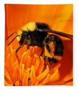 Bumblebee On Flower Fleece Blanket