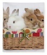 Bunnies In A Basket Fleece Blanket