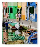 Burano Reflections Fleece Blanket