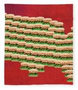 Burger Town Usa Map Red Fleece Blanket