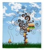Burger Tree House And The Cupcake Kids  Fleece Blanket