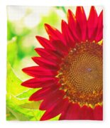 Burgundy Sunflower Fleece Blanket