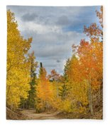 Burning Orange And Gold Autumn Aspens Back Country Colorado Road Fleece Blanket