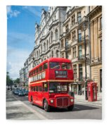 Bus On Piccadilly Fleece Blanket