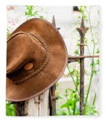 Bush Hat On Railing Fleece Blanket