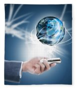 Businessman Holding Mobile Phone With Globe Fleece Blanket