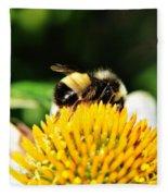 Busy Bee Collecting On Echinacea Pow Wow Fleece Blanket