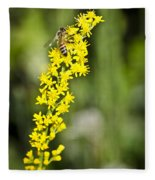 Busy Bee On Yellow Wildflower Fleece Blanket