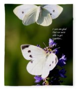Butterflies - Cabbage White - Enjoyed The Togetherness Fleece Blanket