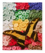 Butterfly And Buttons Fleece Blanket
