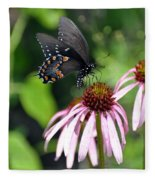 Butterfly And Coine Flower Fleece Blanket