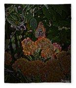 Butterfly And Flowers Fleece Blanket