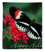 Butterfly Holiday Card Fleece Blanket