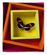 Butterfly In Box Fleece Blanket