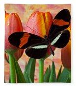 Butterfly On Orange Tulip Fleece Blanket