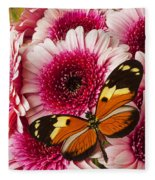 Butterfly On Pink Mum Fleece Blanket