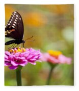 Butterfly On Pink Zinnia Fleece Blanket