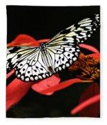 Butterfly On Red Fleece Blanket