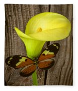Butterfly With Calla Lily Fleece Blanket