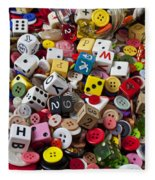 Buttons And Dice Fleece Blanket